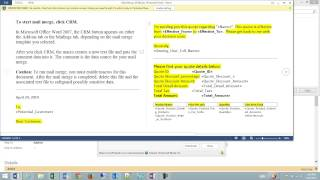 CRM 2013 Creating A Mail Merge Quote Form