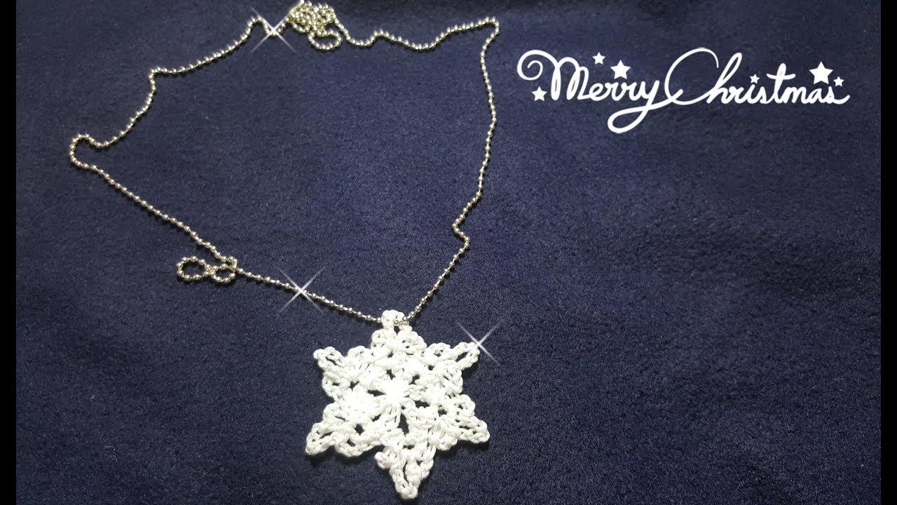 Regali Di Natale All Uncinetto.Collana All Uncinetto Con Fiocco Di Neve Crochet Necklace With Snowflake Regali Di Natale Faidate
