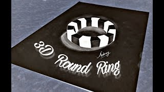 How to draw 3D Round Ring - Negative effect Drawing - 3D Trick Art On Paper