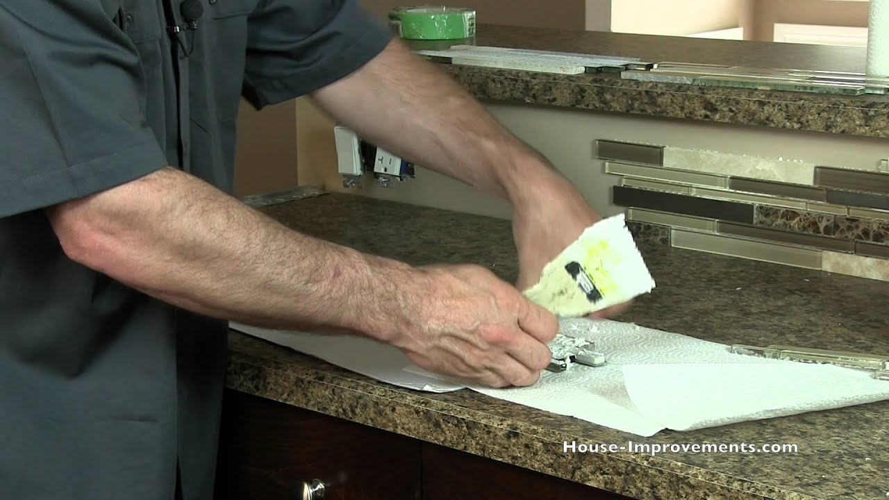 Installing Kitchen Backsplash White Stone Countertops How To Install Mosaic Tile Youtube