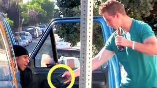 Drunk Guy Offers Homeless People His Wallet! (Social Experiment)