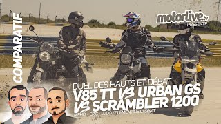 Download Video V85 TT vs URBAN GS vs SCRAMBLER 1200 | DES HAUTS ET DEBAT MP3 3GP MP4