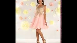Shop MarlasFashions.com for V Neck Flowy Pink Dress with Gold Embroider