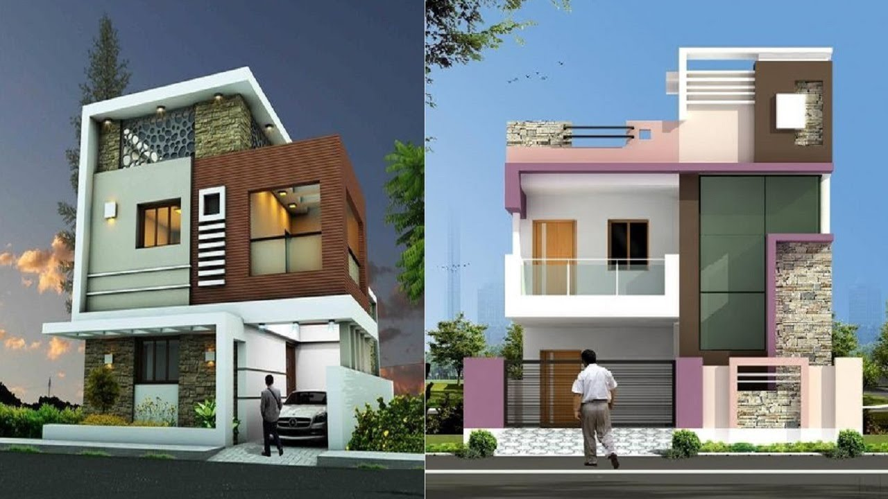 House front elevation designs for double floor single for House elevation for three floors building