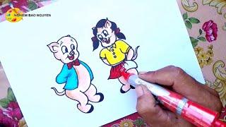 Vẽ hai chú lợn con thật ngộ nghĩnh