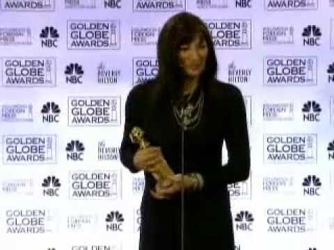 Anjelica Huston - Golden Globes win - press room