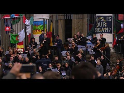 Brussels Philharmonic Plays 'Ode to Joy' at Place de la Bourse