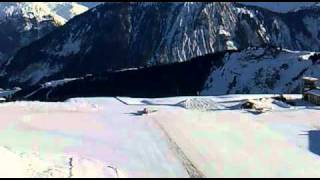 Courchevel Altiport - Takeoff on snow over cliff!