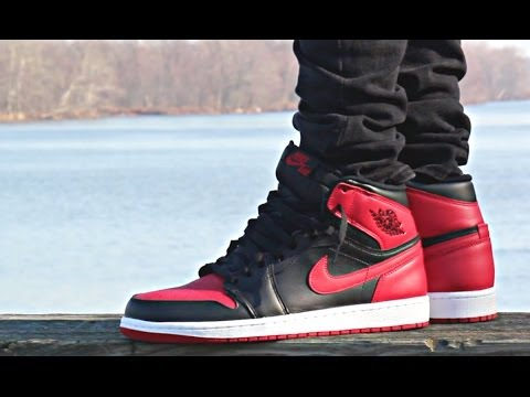 og air jordan 1 bred on feet