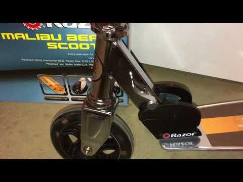 Razor Malibu Beach Scooter with bike lights - YouTube