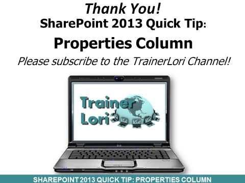 SharePoint: Properties Column
