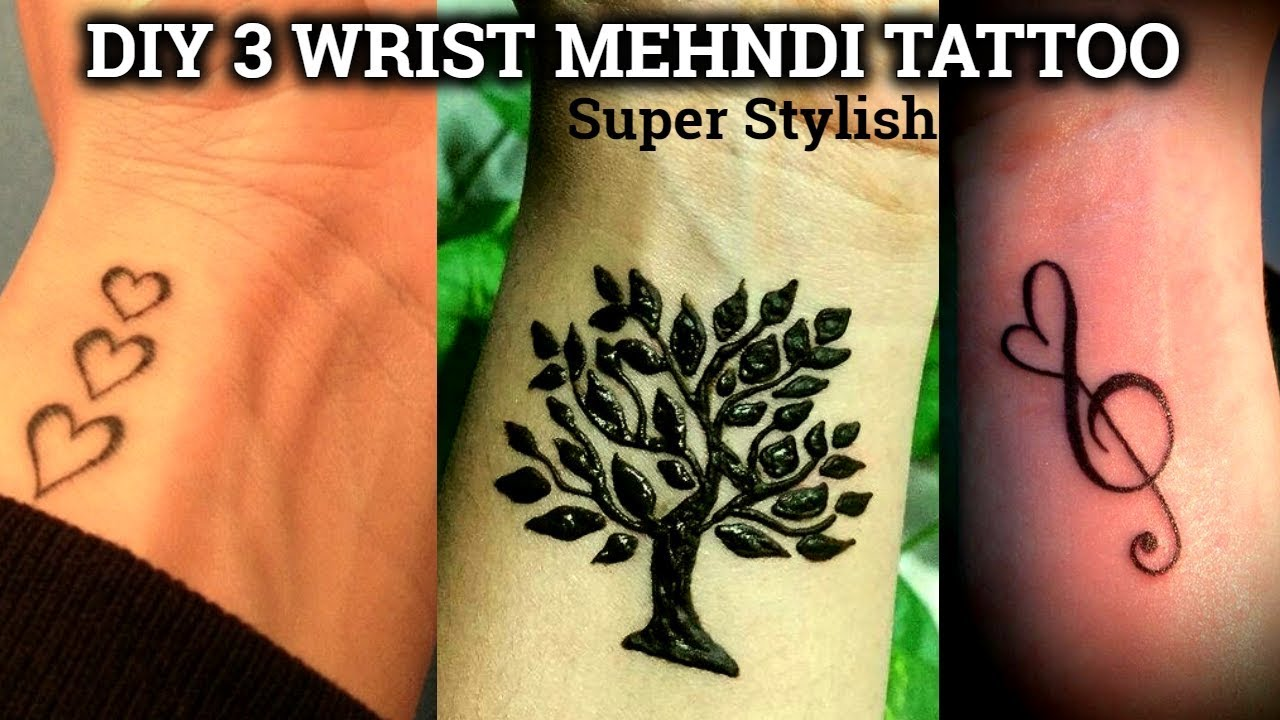 Diy 3 Wrist Tattoo Mehndi Design Tutorial Step By Step Latest Wrist