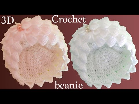 Gorro a Crochet pañuelitos 3D en punto tunecino tejido tallermanualperu