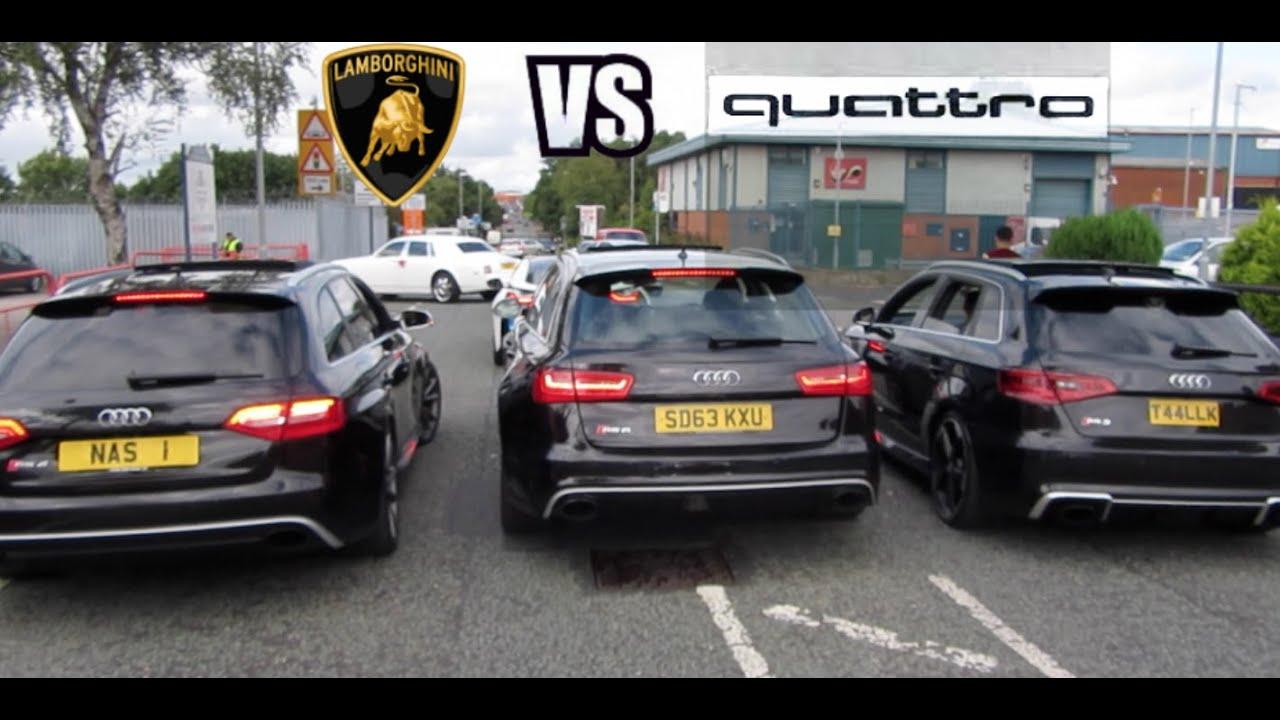 AUDI RS3 VS RS4 VS RS6 VS LAMBO ADI\'S WEDDING CARS BIRMINGHAM - YouTube