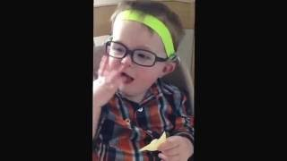 Elijah wearing his glasses for the first time. (15 months old)