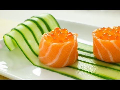 Get Salmon Battleship Sushi filled with Salmon Roe Recipe Images