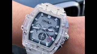 [Onola] Transparent Quartz Square Multifunction Watch   Hombeli Store