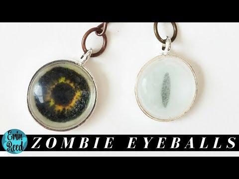 Spooky Zombie Glass Keychain Eyeballs