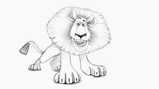 How to draw a Lion (Alex) from Madagascar/Как нарисовать Льва (Алекса) из Мадагаскара