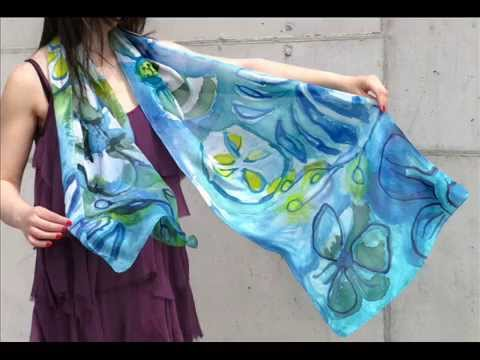 Hand painted silk scarves - YouTube a1855899c6f