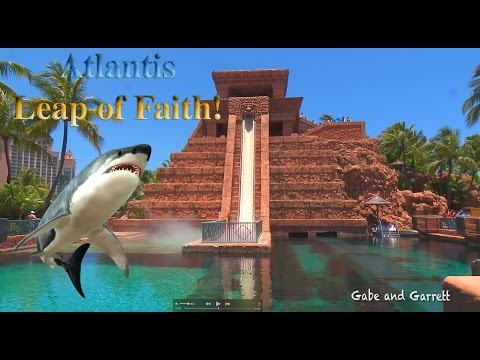 Atlantis Leap of Faith Water Slide - Gabe and Garrett Go To The Bahamas!