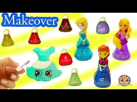 Shopkins Makeover With Disney Little Kingdom Queen Elsa Makeup & Frozen Princess Anna Lip Gloss