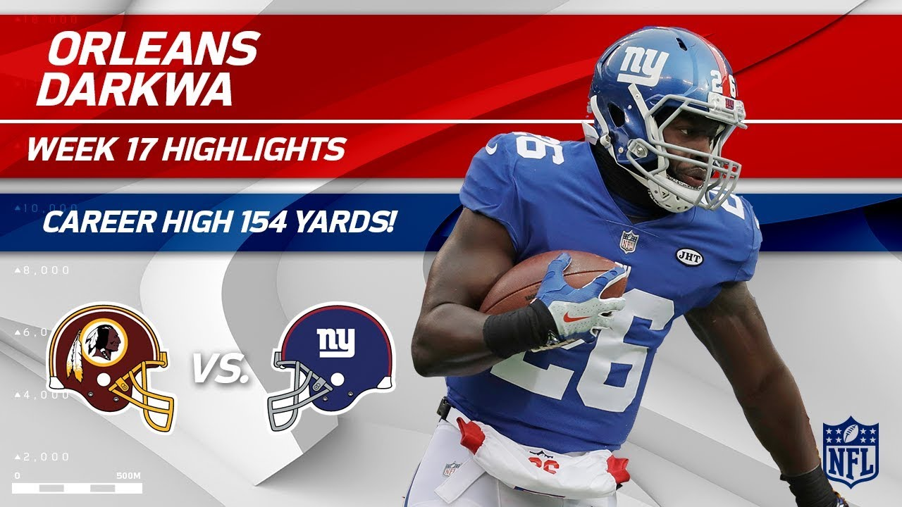 Orleans Darkwa Dominates w/ Career High 154 Rushing Yards! | Redskins vs. Giants | Wk 17 Player HLs
