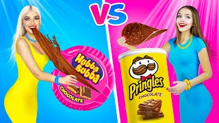 REAL vs CHOCOLATE FOOD Challenge For 24 Hours!    Eating Chocolate Scissors & Play-Doh by RATATA