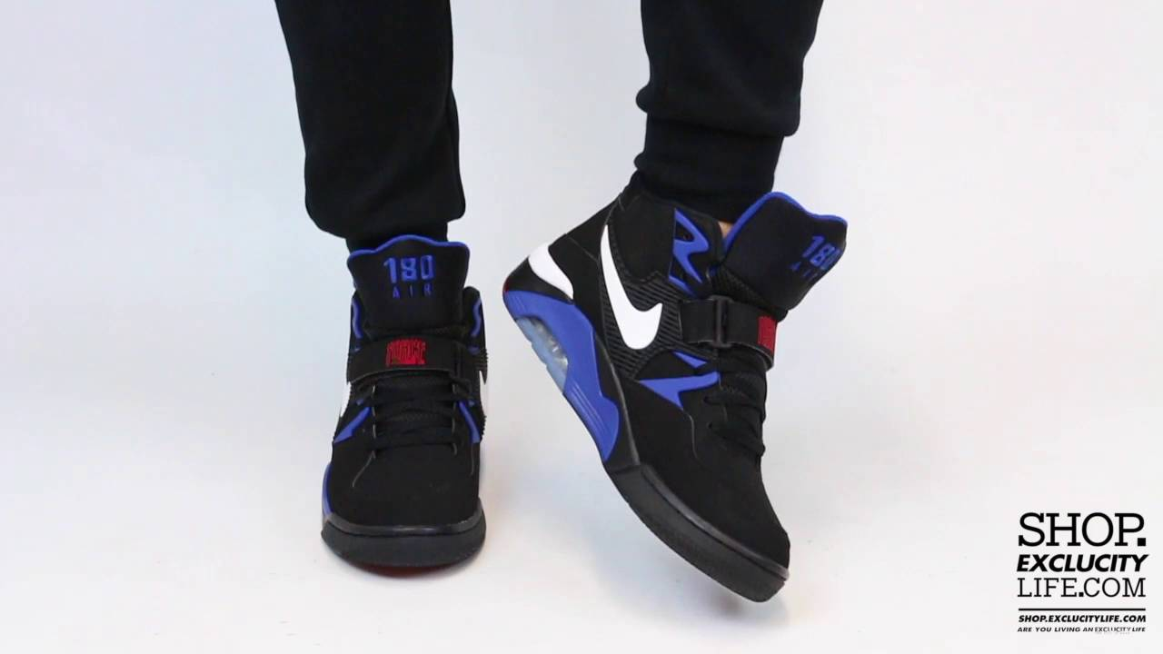 Nike Air Force 180 Black - Red On feet Video at Exclucity