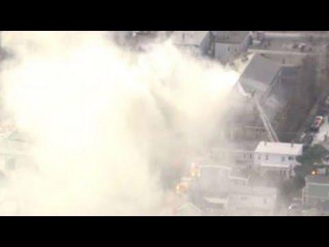 Firefighters battle 9-alarm fire in Cambridge, Massachusetts