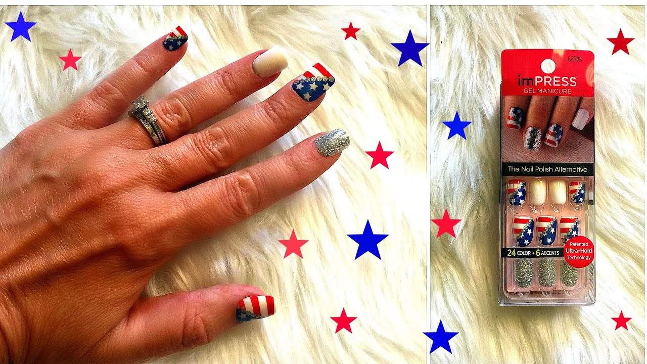 july 4th nails.impress red