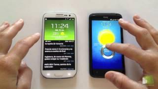 Comparativa Samsung Galaxy S3 vs HTC One X en español | FaqsAndroid.com(Análisis en vídeo HD entre el HTC One X y el Samsung Galaxy S3. Os mostramos los dos móviles Android más potentes en un vídeo comparativo de uno contra ..., 2012-06-17T11:22:04.000Z)