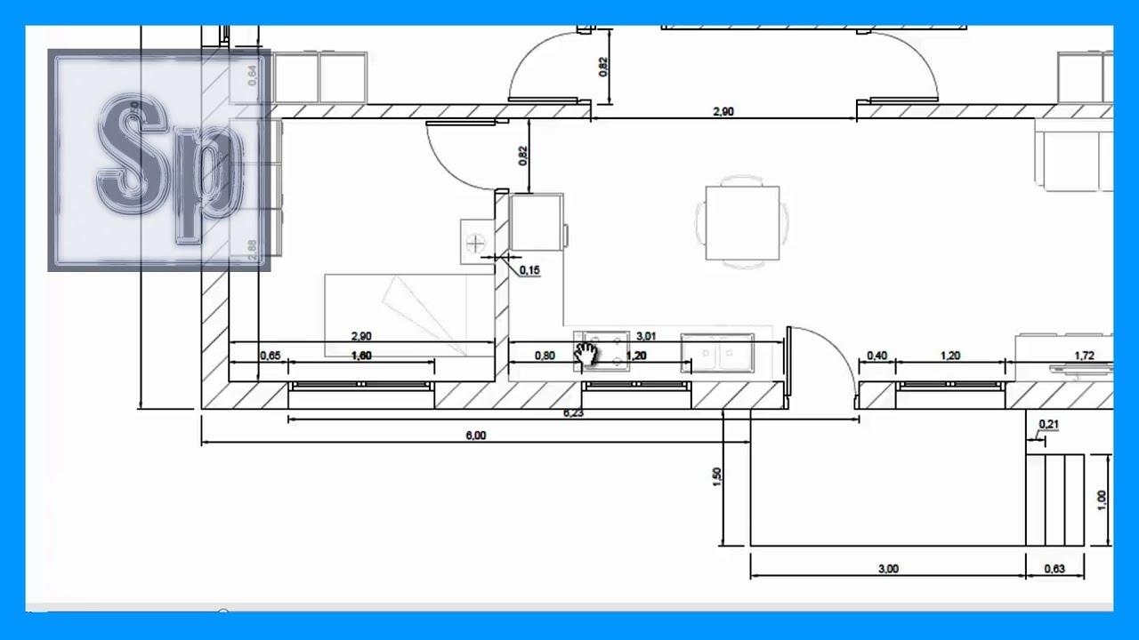 Autocad 1 2 dibujar plano casa de una planta en autocad for Hacer planos online facil