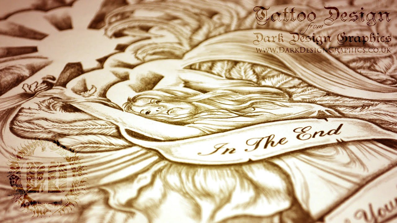 custom tattoo design beautiful angel youtube. Black Bedroom Furniture Sets. Home Design Ideas