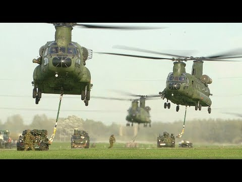 """Heavy Delivery"" Dutch CH-47 Chinooks Sling Load Training"