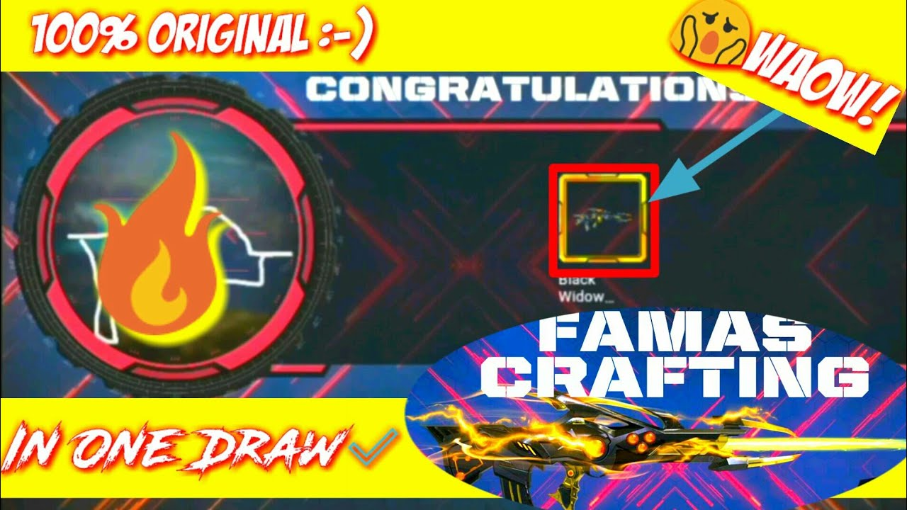 FAMAS Craft Draw | Black Widow Golden In One Drawing | Pro Genius Gamer |