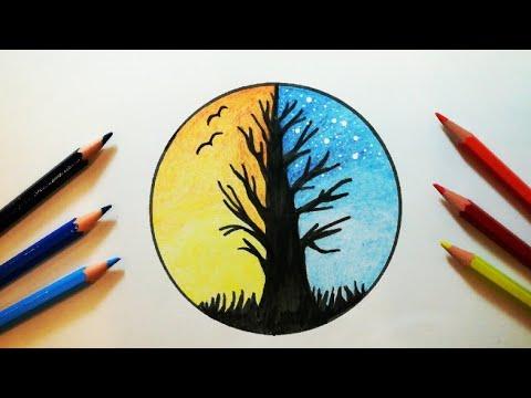 رسم منظر طبيعي سهل جدا للمبتدئين خطوة بخطوة How To Draw Nature