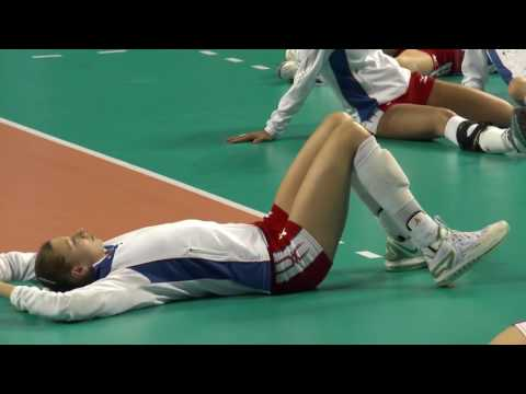 Stretching by beautiful female volleyball team Russia