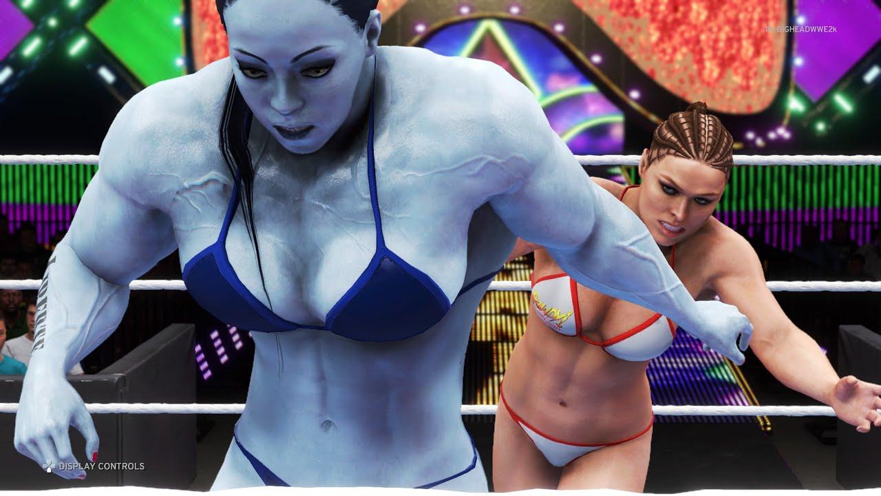 WWE 2K20 - Ronda Rousey vs. Amelie Lacroix - Bikini Girl Fights 💜