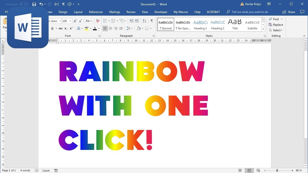 How to create Rainbow Text in Microsoft Word with one click (Tutorial)