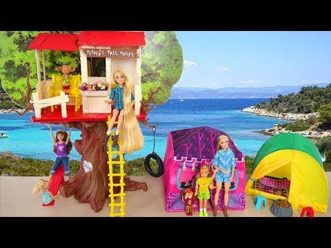 Barbie doll Tree House Camping Tent Unboxing Tenda berkemah Barbie Barraca de acampamento da Barbie