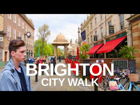 [4K] BRIGHTON ENGLAND WALKING TOUR - Pavilion & Lanes float through the streets