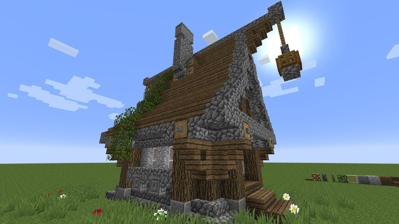 Minecraft How To Build A Very Simple Medieval House Youtube