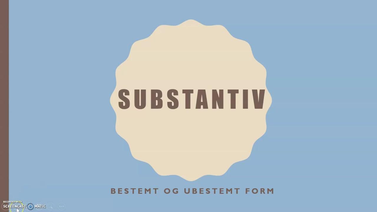 Substantiv - Bestemt og ubestemt form