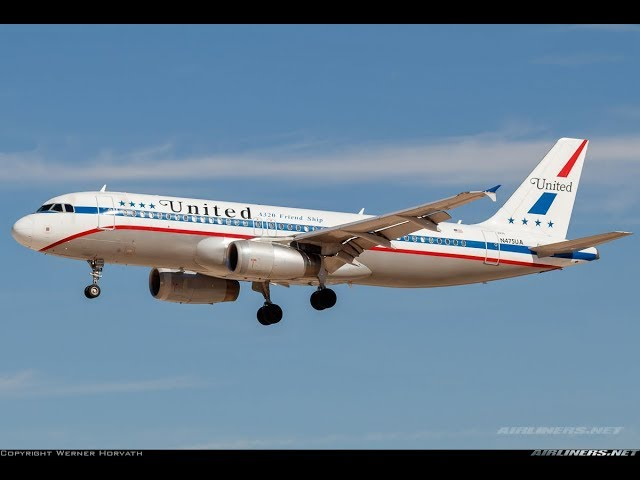 united airlines a320 retro livery landing into washington dulles iad