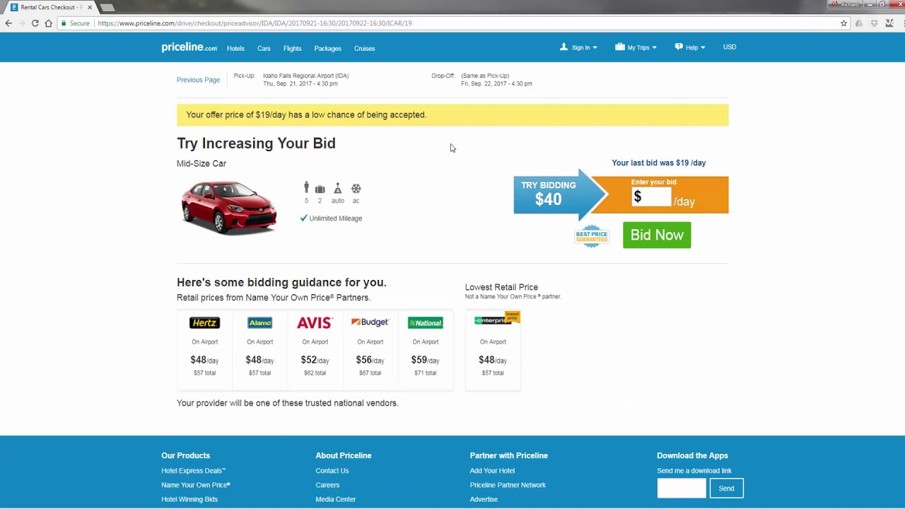 How To Rent A Car Using Priceline S Name Your Own Price Tool Youtube