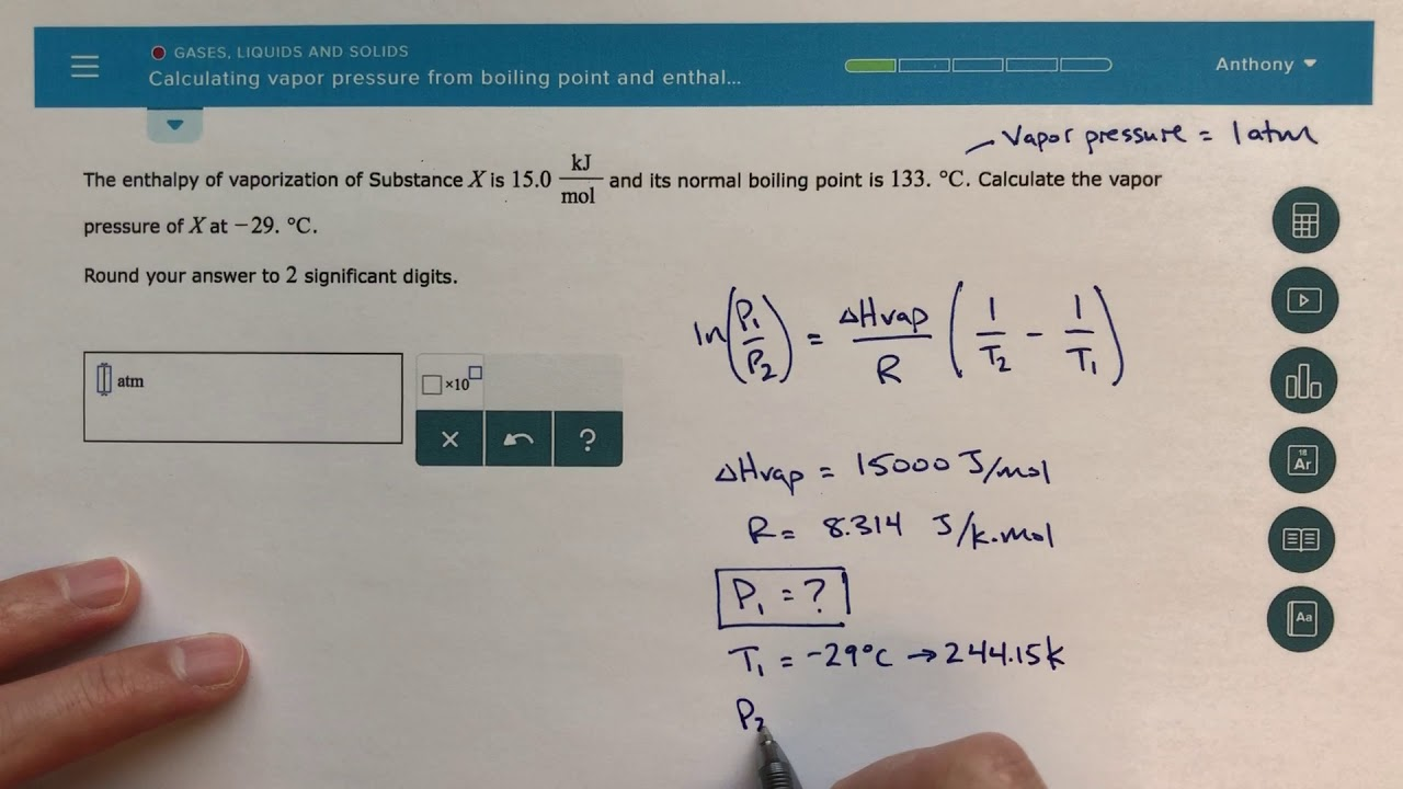 Calculate Heat of Vaporization and normal boing point (in degree C).?