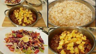 Tas Kebabı İle Akşam Yemeği Menüsü/Pilav/Salata/Seval Mutfakta