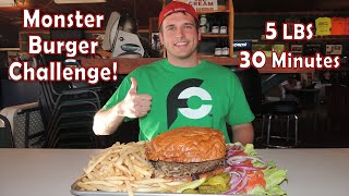 Giant Burger Challenge Stuffed W/ Mushroom, Cheese, And Bacon!