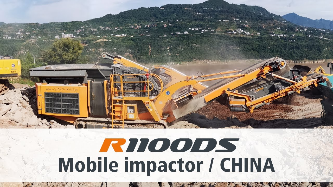 Rockster Impact Crusher R1100DS China Processing Granite / Prallbrecher Aufbereitung Granit in China